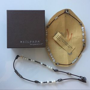 Silpada   Silver, Leather & Pearl Necklace